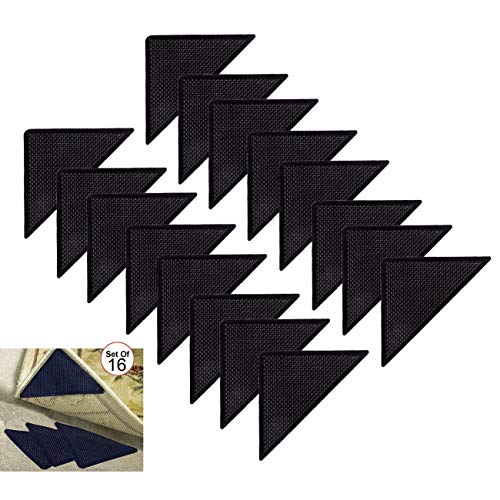 YSO As Seen On TV Reusable Corner Area Carpet Rug Grippers - Rubber Anti Curling Non Slip Skid Pads -16pc Set - Black - N/A