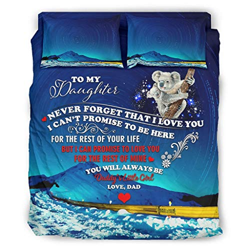 Zhcon Juego de cama de 4 piezas To My Daughter colorido estampado agradable a la piel, juego de cama blanco 228 x 228 cm