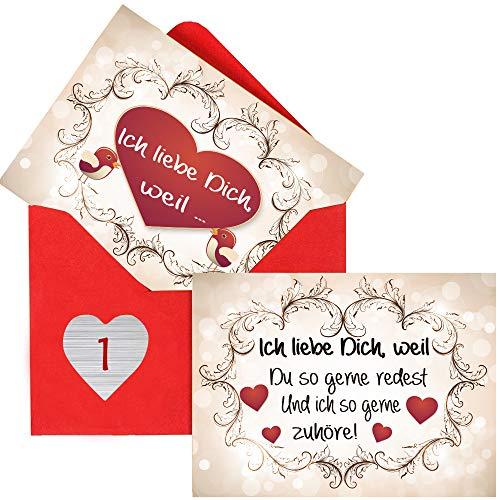 Sinoest Adventskalender zum Befüllen mit 24 Karten Ich Liebe Dich, Weil Geschenke für Männer, Frauen, Verliebte, Paare in 25 roten Umschlägen mit 24 herzförmige Zahlenaufkleber