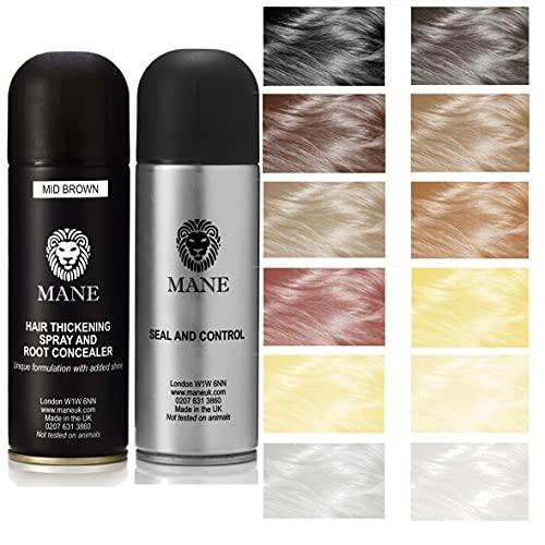 Mane Hair Thickening Spray 200 ml with Seal & Control 200 ml Fixing Spray -Black