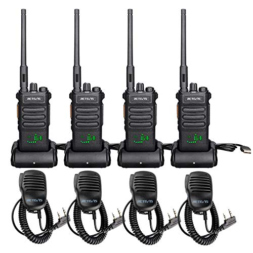 Retevis RT86 Two Way Radios Long Range Rechargeable,High Power Heavy Duty 2 Way Radios,Emergency Adults WalkieTalkies with Mic,Dust-Proof,Drop-Proof,for Construction,Mining,Jobsite(4 Pack)