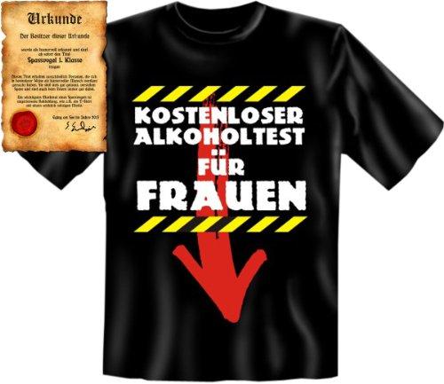 Lustiges Fun Shirt! Kostenloser Alkoholtest für Frauen T-Shirt, als Geschenk! Mit Spassurkunde Größe: L Farbe: schwarz