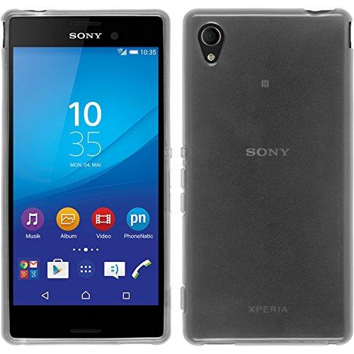 PhoneNatic Case für Sony Xperia M4 Aqua Hülle Silikon weiß transparent Cover Xperia M4 Aqua Tasche + 2 Schutzfolien