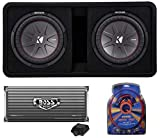 KICKER 43DCWR122 CompR 12' 2000 Watt 2-Ohm Vented Dual Loaded Car Subwoofer Enclosure and 4000 Watt Mono Class D Amplifier with 4 Gauge Amp Wiring Kit