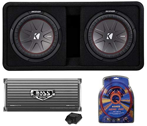 KICKER 43DCWR122 CompR 12 2000 Watt 2-Ohm Vented Dual Loaded Car Subwoofer Enclosure and 4000 Watt Mono Class D Amplifier with 4 Gauge Amp Wiring Kit