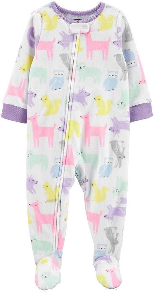 Carter's 5T Girls Microfleece One Piece Pajama Long Sleeve Pastel Animal Print