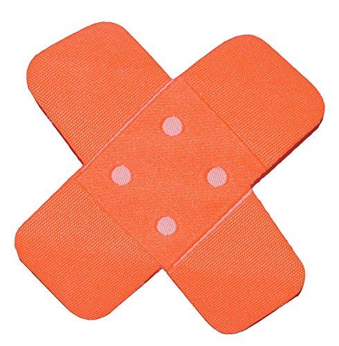 alles-meine.de GmbH Bügelbild - Pflaster - neon orange - 7,5 cm * 7,5 cm - Aufnäher gewebter Flicken / Applikation - für Kinder Teddy Plüschtiere - Mädchen Jungen - Krank Kranken..