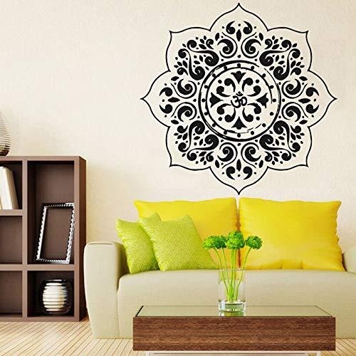 HNXDP Yoga Wandtattoos Schlafzimmer Dekoration Indische Mandalas Blumenmuster Vinyl Kunst Wandaufkleber Wohnkultur 59cmx59cm