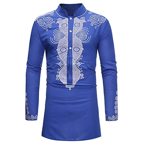 Usstore 🧥 Men's Autumn Winter Luxury African Print Long Sleeve Stand Collar Dashiki Shirt Polyester Top Blouse (Blue, L)