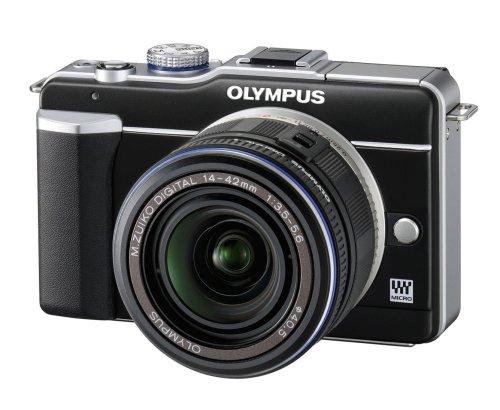 Olympus PEN E-PL1 Systemkamera (13 Megapixel, 6,9 cm (2,7 Zoll) Display, Bildstabilisator) schwarz mit 14-42mm Objektiv schwarz