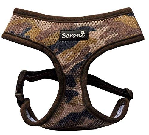 Softgeschirr Hundegeschirr Camouflage tarnmuster tarnfarben Brustgeschirr weich gepolstert VERSTELLBAR für kleine Hunde bis Mops Mesh (XS ( Hals: 21-25cm, Brust: 29-38cm ), Braun)