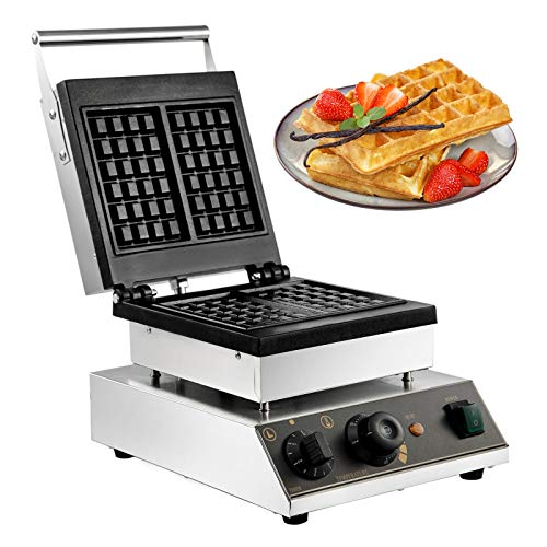 VBENLEM Commercial Waffle Maker 2Pcs Nonstick 2000W Electric Muffin Machine Stainless Steel 110V Temperature and Time Control Rectangle Suitable for Bakeries Snack Bar Family, Sliver