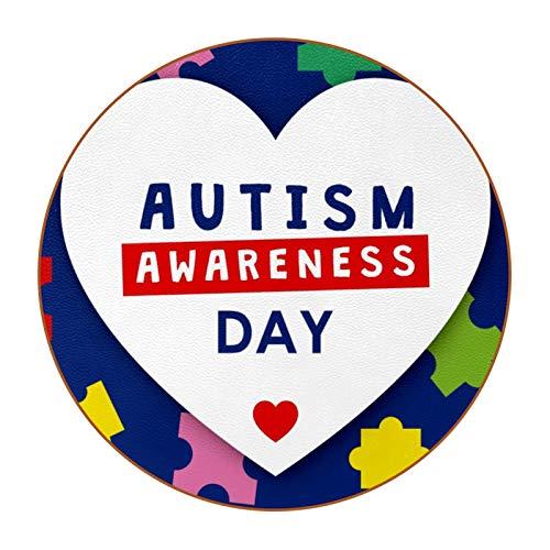 6 posavasos redondos de microfibra de piel para bebida, posavasos decorativos para tipos de tazas y tazas, día de la conciencia del autismo