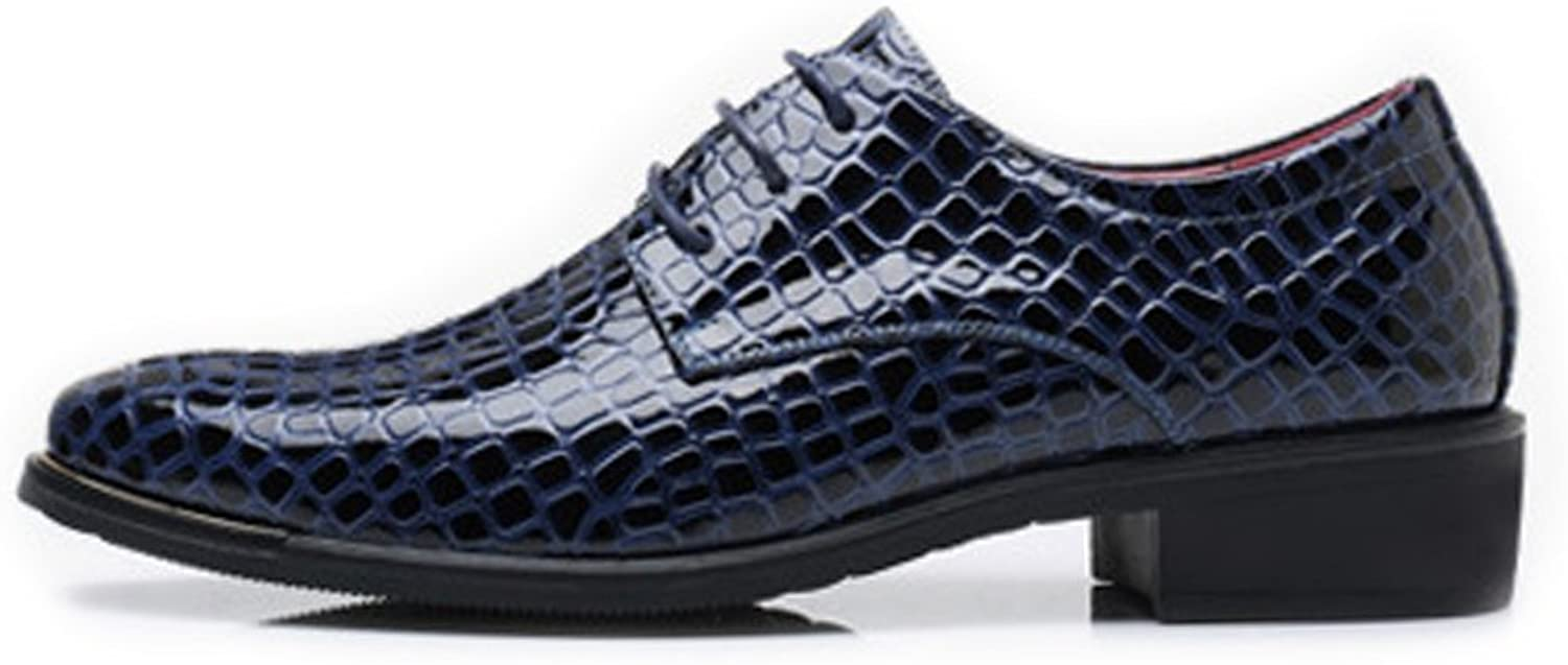 XIANGBAO-Personality Fashion Men's PU Leather Business shoes Snake Skin Texture Upper Lace Up Lined Oxfords