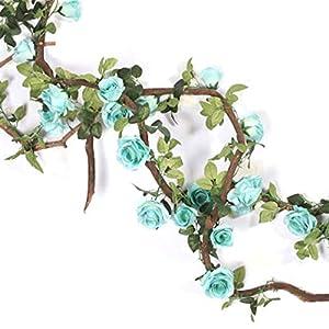 Facibom Artificial Flower Silk Rose Flower Hanging Artificial Plants Wedding Party Garland Craft Summer Garden Decor-Blue