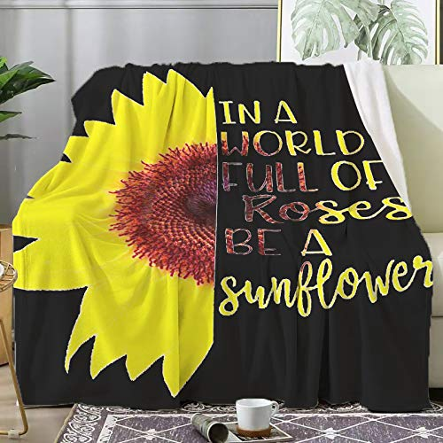 Tuxhhzdda Best Grammy Ever Sunflower Blankets Used for Beds Sofas, Warm and Comfortable Microfiber Flannel Lightweight Blankets (Men, Women) (A World Full of Roses Be A Sunflower, 60' x50)