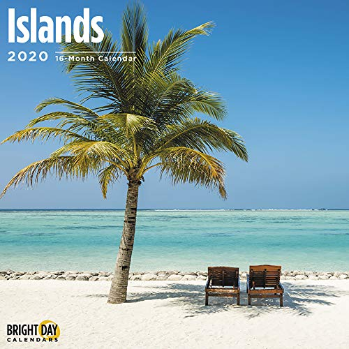 2020 Islands Wall Calendar with 324 Included Stickers by Bright Day, 16 Month 12 x 12 Inch, Relaxing Scenic Tropical Vacation Inspiration