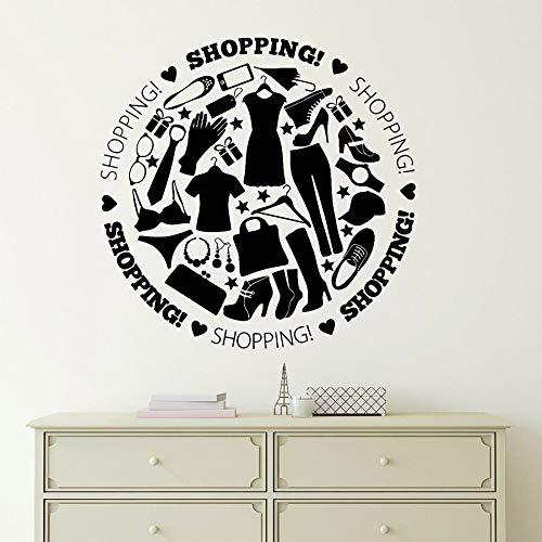 Calcomanías de pared tienda de ropa centro comercial centro decoración de interiores moda arte vinilo ventana etiqueta de vidrio texto logo mural