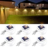 ROSHWEY LED Gutter Lights, Solar Lights Outdoor Waterproof Fence Lights for Eaves Garden Landscape Yard (Warm White, 6 Pack)