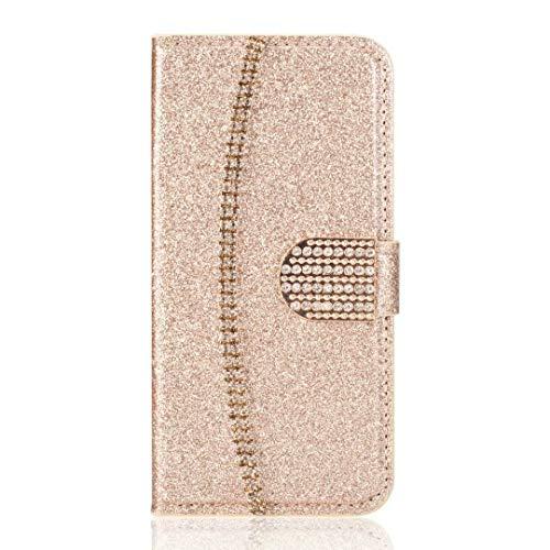 Handyhülle für Samsung Galaxy A52 5G Hülle Glitzer Goldkette Strass Leder Tasche Flipcase Cover Silikon Schutzhülle Handytasche Skin Ständer Klapphülle Schale Bumper Magnet Clip Mädchen Golden