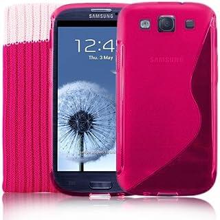 Samsung Galaxy S3 SIII rosa S-Line silikon-fodral + skärmskydd och strumpa