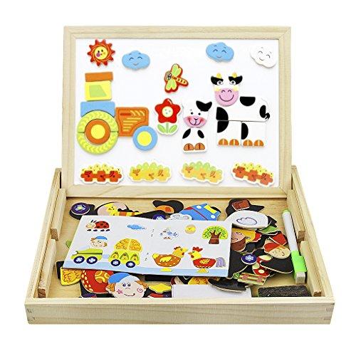 Puzzle Bois Double Face Magn/étique Jouet Bois Enfant Fajiabao Planche /à Dessin Jouets /Éducatifs Cr/éativit/é