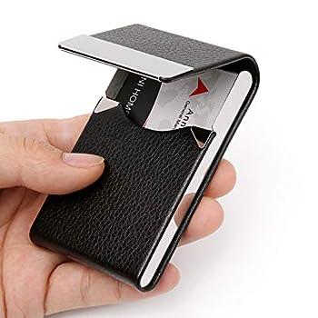 DMFLY Business Card Holder Case - PU Leather Business Card Case Name Card Holder Slim Metal Pocket Card Holder with Magnetic Shut Black