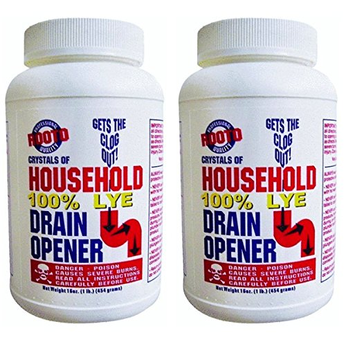 Rooto 1030 Drain Cleaner With Lye, 1 lb, 2 Piece