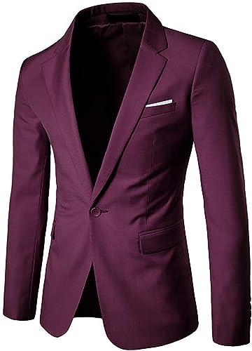 Qiusa Blazer Bussiness Homme UniCouleure Slim Fit Couleur Unie Slim (Couleuré   Burgundy, Taille   grand)