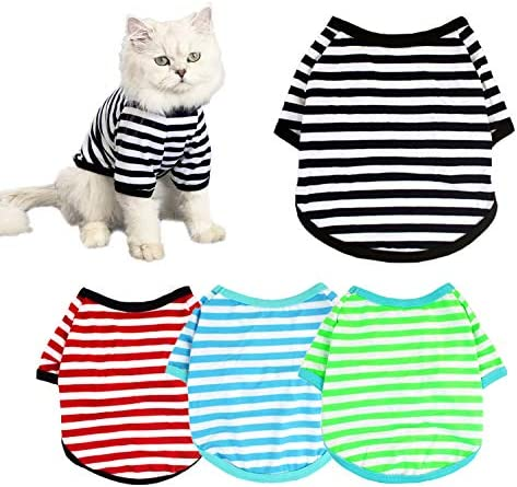 4 Pack Dog Shirts Pet Summer Doggie Clothes Breathable Striped Outfits Puppy T Shirts Apparel product image