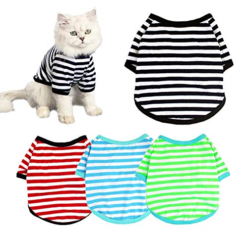 4-Pack Dog Shirts Pet Summer Doggie Clothes Breathable Striped Outfits Puppy T-Shirts Apparel for Small Dog Cat Boy and Girl (XL, Black & Red & Blue & Green)