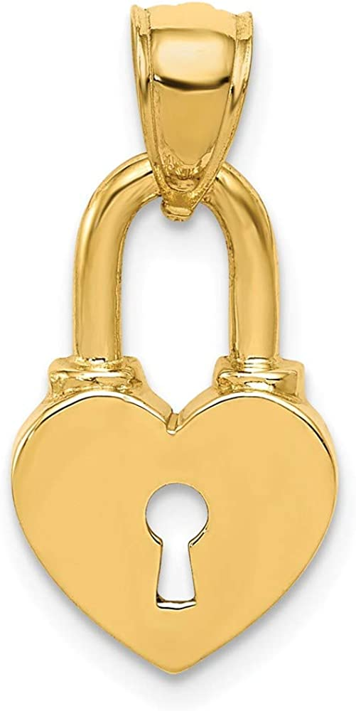 14k Yellow Gold Heart Lock Pendant Charm Necklace Love With Fine Jewelry For Women Gifts For Her