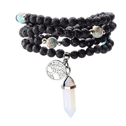 JSDDE 108 Lava Stone Buddhist Prayer Bead Wrap Bracelet Necklace w/Synthetic Opalite
