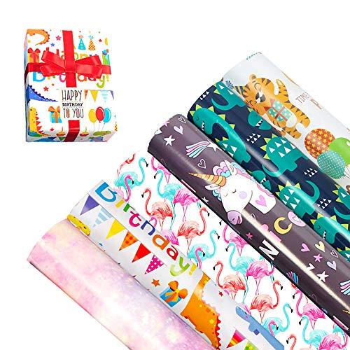 6 Bogen Geschenkpapier mit Bunt Tiere für Kinder Baby Mädchen Junge Jungs,6 Rolle DIY Edel Verschiedene Designs Packungen Geschenkverpackung Papier für Geschenk Geburtstag Hochzeit Taufe Party 50X70cm