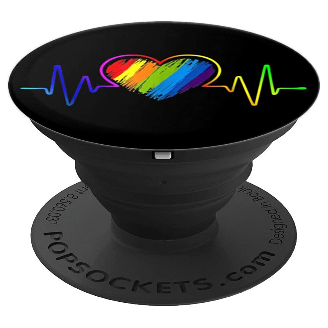 LGBT Rainbow Heartbeat T-shirt Gay and Lesbian Pride - PopSockets Grip and Stand for Phones and Tablets