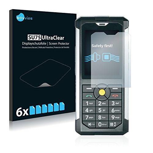 Savvies 6X Schutzfolie kompatibel mit Caterpillar Cat B100 Bildschirmschutz-Folie Ultra-transparent