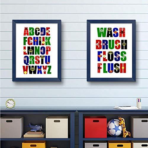 kldfig Alphabet afdrukken schilderij jongens kamer muurkunst decor ABC canvas canvas muurkunst schilderij kinderkamer decoratie - 60x80x2cm zonder lijst
