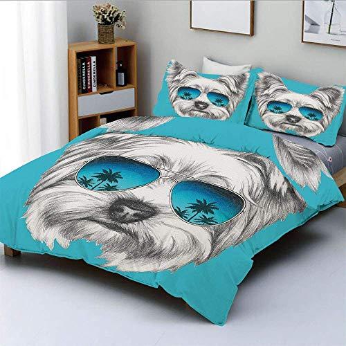 Juego de funda nórdica, retrato de Yorkshire Terrier con gafas de sol de espejo, arte animal lindo dibujado a mano, juego de cama decorativo de 3 piezas con 2 fundas de almohada, azul blanco, el mejor