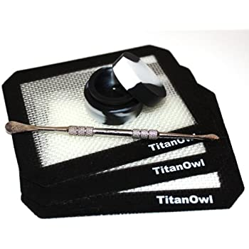 """Silicone Dab Mat 3 Silicone Mat Platinum Cured + Non-stick Jar + TitanOwl Carving Tool, Pad with Black corners 5.5"""" x 4.5"""""""