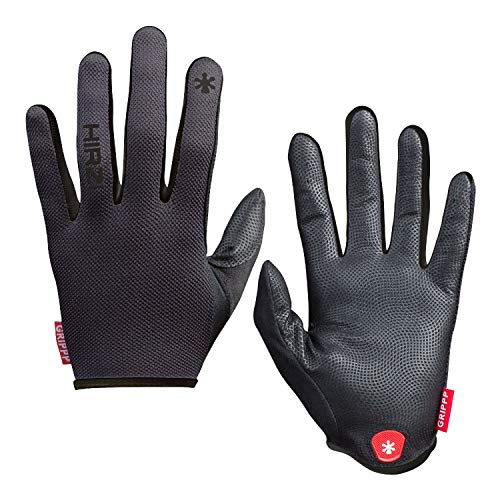 HIRZL Grippp Light FF Leather Bike Gloves, Black/White, Full Finger, Breathable, Ultra Lightweight, Sweat, Water and Abrasion Resistant, Ergonomic, Durable, MTB, Road, Mountain, Cycling, Swiss, XL