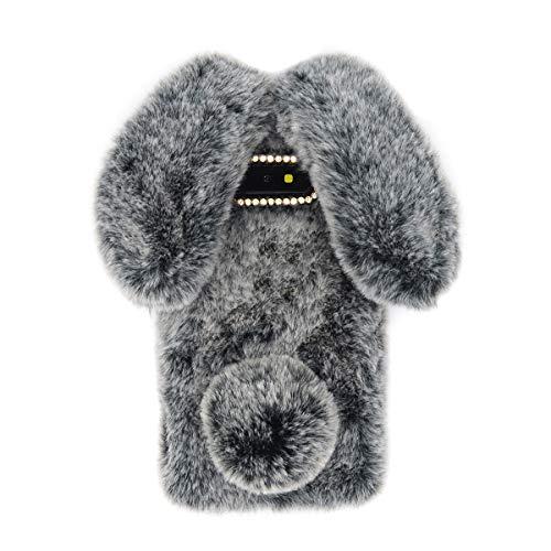 Omio for Samsung Galaxy S10 Plus Rabbit Fur Case Soft Handmade Fluffy Furry Cute Bunny Stylish Plush Rabbit Case Cover Warm Big Ear Bling Crystal Rhinestone Bowknot Ultra Thin Case for Galaxy S10 Plus
