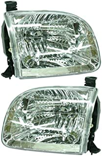 Headlight Assembly Compatible with 2001-2004 Toyota Sequoia/Tundra 2004 Tundra Double Cap Passenger and Driver Side
