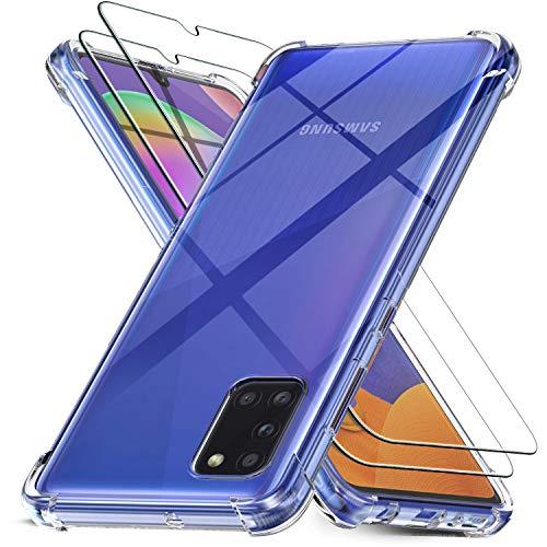 Ferilinso für Samsung Galaxy A31 Hülle + 2 Stück Panzerglas Schutzfolie [Transparent Silikon Handy Hüllen] [Stoßfest Kratzfest ] [Shock Absorption Schutzhülle] [Bumper Crystal] [Einfache Installation]