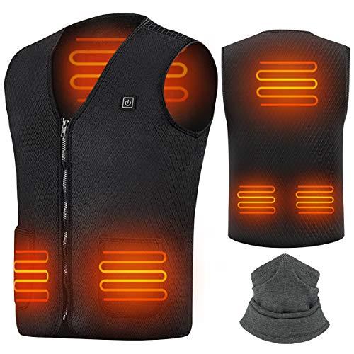 Suxman Chaleco calefactable USB, Chaleco calefactable para Hombres y Mujeres, Temperatura térmica Ajustable, Carga USB, calefacción de Espalda y Cuello, Chaqueta Inviern-Lavable (XXL)