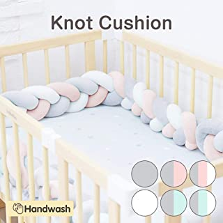 Wonder Space Soft Knot Plush Pillow - Baby Crib Bumper, Fashion Nursery Cradle Decor for Baby Toddler and Childern (Pink/Grey/White, 118IN / 3M)