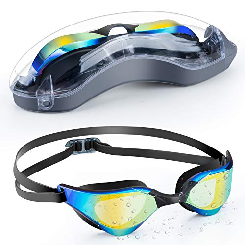 Portzon Swim Goggles, Swimming Goggles for Adult Men Women Youth Kids Child, Silicone Nose Bridge, Clear Vision, Easy-Adjustable Strap, UV Protection, Anti-Fog, No Leaking