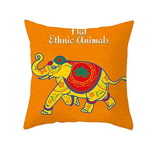 Fundas de Cojines Running Elephant Amarillo Terciopelo Suave Cuadrado Decorativa Almohadas Funda de Almohada para Cojín para Sofá Dormitorio Coche Throw Pillow Case V10276 Pillowcase+core,50X50cm