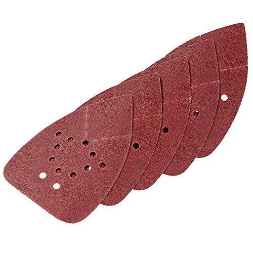 LUX-TOOLS Schleifauflagen-Set 95mm x 135mm mit Klett & verschiedenen Körnungen (K80, K120, K180, K240), 20-teilig | 20 Schleifauflagen für Deltaschleifer zur Bearbeitung von Holz & Metall