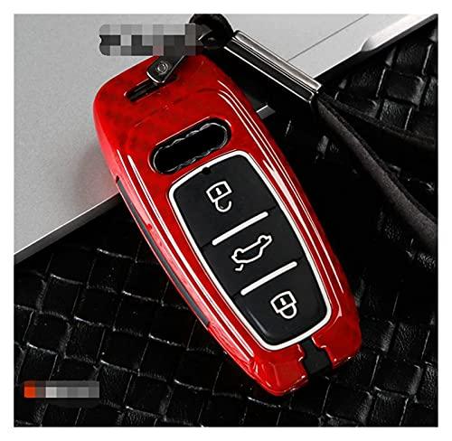 LingDian Cubierta de la caja de la aleación de la aleación de la fibra de carbono + CUBIERTA DE LA CAJA DE LLAVE DE SILICONO PARA AUDI A6 C8 A7 A8 2018 2019 Funda clave ( Color Name : Carbon red )