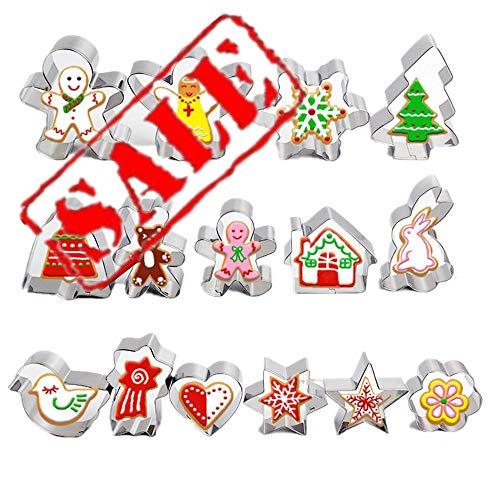 Set de cortadores de galletas para niños: conejo de Pascua, casa, flor, pájaro, oso, ángel, corazón, estrella | Moldes para decoración de pasteles | Galletas de Baby Shower, acero inoxidable,